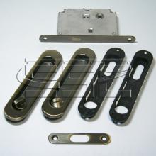 Фурнитура для раздвижных дверей Ручки овальные с замком бронза SSC-031-AB изображение 1