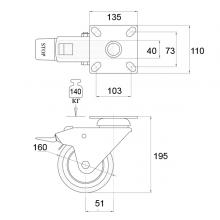 Мебельная фурнитура Колёсные опоры поворотные на площадке с тормозом SSC-0030 изображение 2
