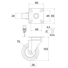 Мебельная фурнитура Колесо поворотное на площадке SSC-0121 изображение 2