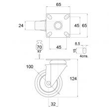 Мебельная фурнитура Колесо поворотное на площадке SSC-0122 изображение 2