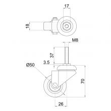 Мебельная фурнитура Колесо поворотное на штыре М8 SSC-0123 изображение 2