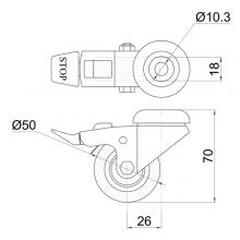 Мебельная фурнитура Колесо поворотное под штырь с тормозом SSC-0126 изображение 2