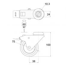 Мебельная фурнитура Колесо поворотное под штырь с тормозом SSC-0127 изображение 2