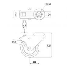 Мебельная фурнитура Колесо поворотное под штырь с тормозом SSC-0128 изображение 2