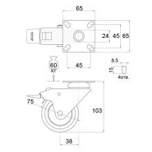 Мебельная фурнитура Колесо поворотное на площадке SSC-0130 изображение 2