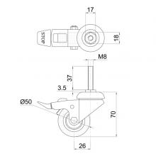 Мебельная фурнитура Колесо поворотное на штыре М8 с тормозом SSC-0132 изображение 2