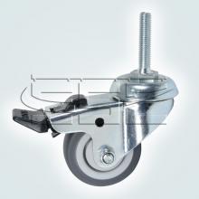 Мебельная фурнитура Колесо поворотное на штыре М8 с тормозом SSC-0132 изображение 1