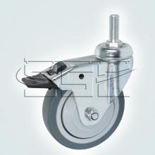 Мебельная фурнитура Колесо поворотное на штыре М8 с тормозом SSC-0133 изображение 1