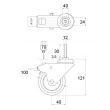 Мебельная фурнитура Колесо поворотное на штыре М8 с тормозом SSC-0134 изображение 2