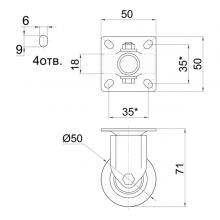 Мебельная фурнитура Колесо неповоротное на площадке SSC-0138 изображение 2