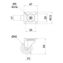 Мебельная фурнитура Колесо поворотное на площадке SSC-0143 изображение 2