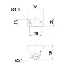 Мебельная фурнитура Колесо неповоротное SSC-0149 изображение 2