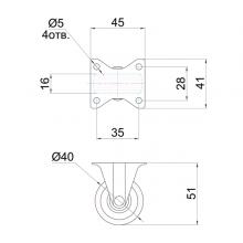 Мебельная фурнитура Колесо неповоротное SSC-0151 изображение 2