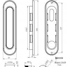 Фурнитура для раздвижных дверей Ручки овальные золото SSC-030-PB изображение 2