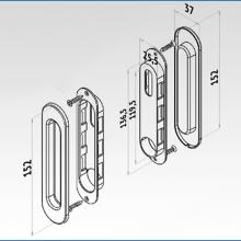 Фурнитура для раздвижных дверей Ручки овальные золото SSC-030-PB изображение 3