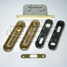 Фурнитура для раздвижных дверей Ручки овальные с замком золото SSC-031-PB изображение 1