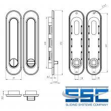 Фурнитура для раздвижных дверей Ручки овальные с замком сатин SSC-031-SN изображение 2