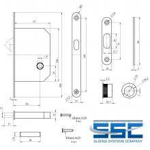 Фурнитура для раздвижных дверей Ручки овальные с замком золото SSC-031-PB изображение 3