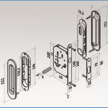Фурнитура для раздвижных дверей Ручки овальные с замком хром SSC-031-CP изображение 4
