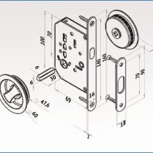Фурнитура для раздвижных дверей Ручки круглые с замком сатин SSC-032-SN изображение 2