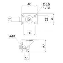 Мебельная фурнитура Колесо поворотное на площадке SSC-04 изображение 2