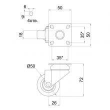 Мебельная фурнитура Колесо поворотное на площадке SSC-0120 изображение 2
