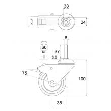 Колесо поворотное на штыре М8 с тормозом SSC-0133 изображение 2