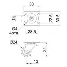 Колесо поворотное на площадке SSC-0141 изображение 2