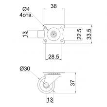 Колесо поворотное на площадке SSC-0142 изображение 2